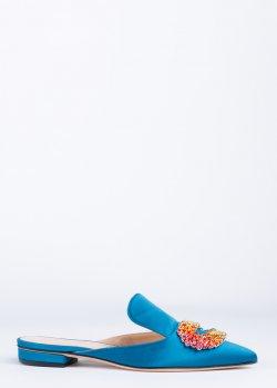 Мюли Giannico синего цвета с декором, фото