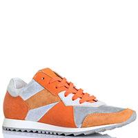 Кожаные оранжевые кроссовки Logan со вставками из замши, фото