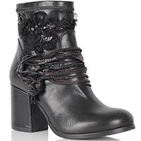 Демисезонные ботинки Mimmu из кожи с текстильным декором, фото
