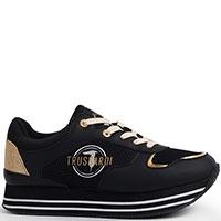 Кроссовки Trussardi Jeans черные с золотистыми вставками, фото