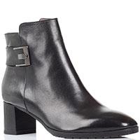 Кожаные ботинки Calpierre черного цвета с декоративным ремешком, фото