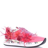 Розовые кроссовки Premiata с декором-цветами, фото