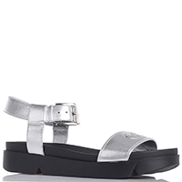 Серебристые босоножки Emporio Armani на толстой подошве, фото