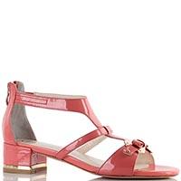 Розовые лакированные босоножки Massimo Santini на устойчивом толстом каблуке, фото