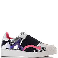 Белые кроссовки Moa с розовыми и фиолетовыми полосами, фото