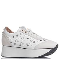 Белые кроссовки Alexander Smith с декором-камнями, фото