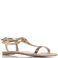 Лаковые сандалии Patrizia Pepe золотистого цвета, фото