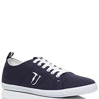 Кеды из текстиля синего цвета Trussardi Jeans, фото