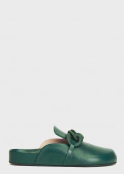 Зеленые мюли N21 с цепью, фото