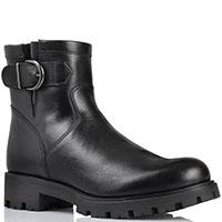 Кожаные ботинки Unisa черного цвета на рельефной подошве, фото