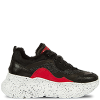 Черные кроссовки Prima на толстой белой подошве, фото