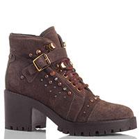 Замшевые ботинки на толстом каблуке The Seller Jullie Dee коричневого цвета с металлическим декором, фото