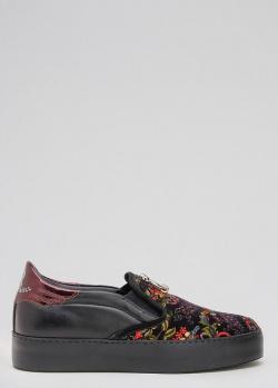 Черные слипоны John Richmond с цветочным принтом, фото
