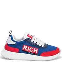Синие кроссовки John Richmond с красными вставками, фото