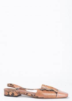 Босоножки L'Autre Chose на низком ходу с принтом под рептилию, фото