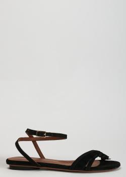 Замшевые сандалии L'Autre Chose черного цвета, фото