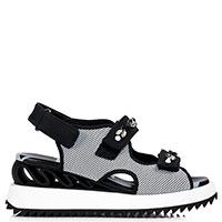 Черно-белые сандалии Le Silla Yui с декором-камнями, фото