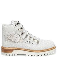 Женские ботинки Le Silla с декором-стразами в белом цвете, фото