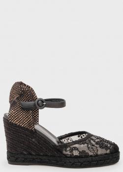 Кружевные босоножки Le Silla черного цвета, фото