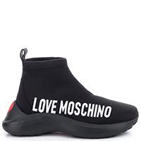 Кроссовки-чулки Love Moschino с белой брендовой надписью, фото