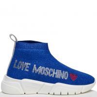 Синие кроссовки Love Moschino со стразами, фото