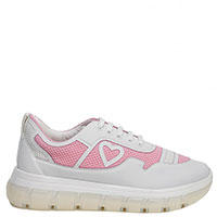Белые кроссовки Love Moschino с розовыми вставками, фото