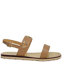 Коричневые сандалии Love Moschino с брендовым декором, фото