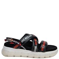 Черные сандалии Love Moschino с брендовым принтом, фото