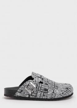 Черные мюли Love Moschino с фирменным принтом, фото