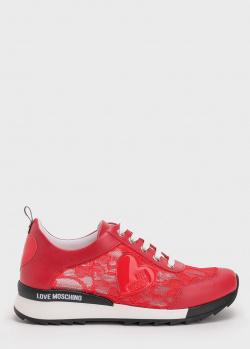 Кружевные кроссовки Love Moschino красного цвета, фото