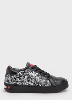 Кеды из черной кожи Love Moschino с принтом, фото