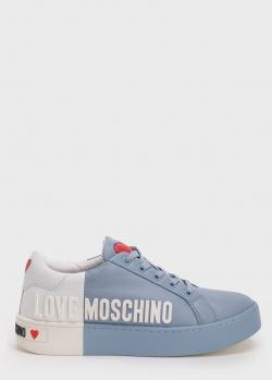Кеды из гладкой кожи Love Moschino с декором-сердцем, фото