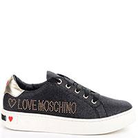 Черные кеды Love Moschino с глиттером и стразами, фото