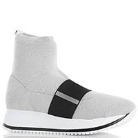 Ботинки Giada Gabrielli серебристого цвета на толстой подошве, фото