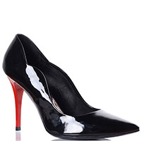 Лаковые лодочки Demis черного цвета на красном каблуке, фото