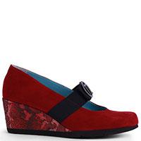 Красные туфли Thierry Rabotin из замши с декором-пряжкой, фото
