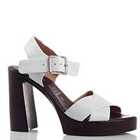 Белые босоножки Repo на толстом каблуке, фото