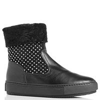 Ботинки зимние Repo из кожи черного цвета, фото