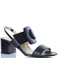 Кожаные босоножки Griff Italia черного цвета на широком каблуке, фото