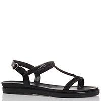 Лаковые сандалии черного цвета Repo декорированные бисером, фото