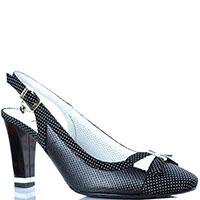 Туфли с открытой пяточкой Ilasio Renzoni черного цвета с перфорацией, фото