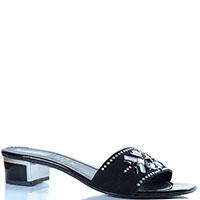 Замшевые сланцы Repo черного цвета с декором из страз, фото