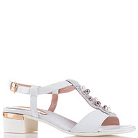 Белые босоножки Loretta Pettinari на низком каблуке, фото