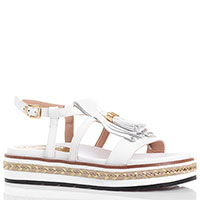 Белые сандалии Loretta Pettinari на платформе с кисточками и бахромой, фото