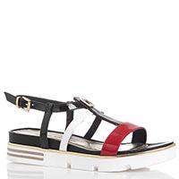 Лаковые сандалии Loretta Pettinari черного цвета с красным и белым ремешками, фото