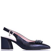 Синие туфли Ilasio Renzoni с декором-камнями на носке, фото