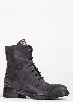 Серые ботинки Fru.It из замши с заклепками, фото