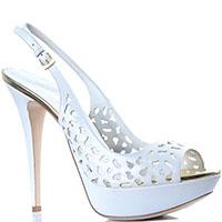 Босоножки Loriblu белого цвета на высоком каблуке-шпильке, фото