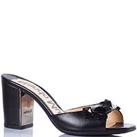 Мюли Nando Muzi из кожи черного цвета на среднем каблуке, фото