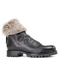 Черные ботинки Halmanera с декором-мехом, фото